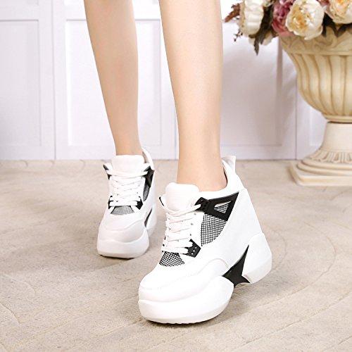 Coinciden Todos Mujer Zapatos Grueso High Cuñas Ssby Solo Ocio De El Fondo Aumento White Super Heels 12cm En 8wxCqRz
