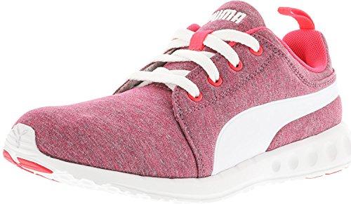 Puma Heren Carson Runner Gebreide Vetersluiting Fashion Sneaker Helder Plasma-wit