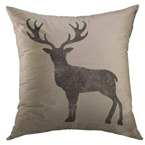 Decorative Deer (Mugod Decorative Throw Pillow Cover for Couch Sofa,Vintage Stag Black Deer Antlers Home Decor Pillow Case 18x18 Inch)