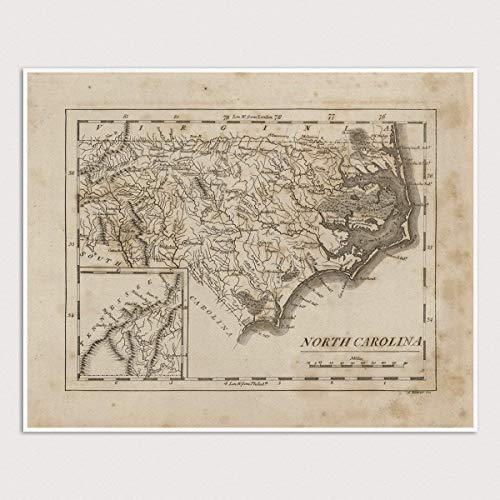 Old North Carolina Map Art Print, 1816, Archival Reproduction, Unframed