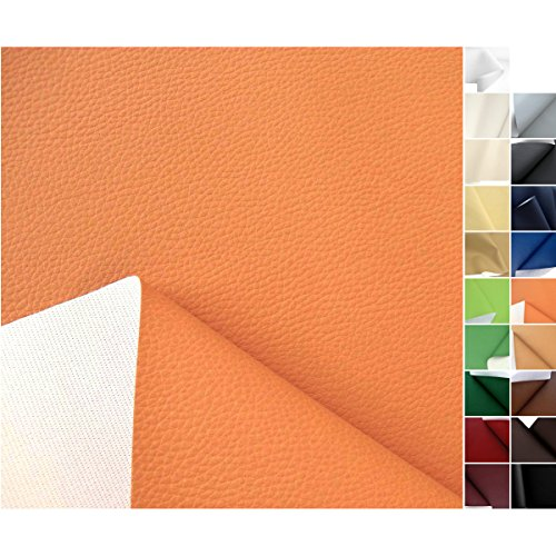 TOLKO® Kunstleder Polsterstoff Meterware in Orange als robuster PREMIUM Bezugsstoff / Möbelstoff