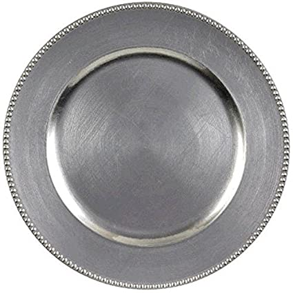 Elegant Round Metallic Plastic Charger Party Table Reusable Serveware 1 Piece Plastic Silver  sc 1 st  Amazon.com & Amazon.com: Elegant Round Metallic Plastic Charger Party Table ...