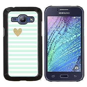 Stuss Case / Funda Carcasa protectora - Azul rayas blancas del bebé del modelo del corazón - Samsung Galaxy J1 J100