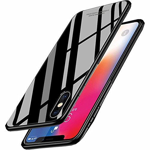 Samhe iPhone X Case Tempered Glass Back Cover Shockproof 360 Protective Ultra Thin Luxury Cover Case for Apple iPhone X (black) ()