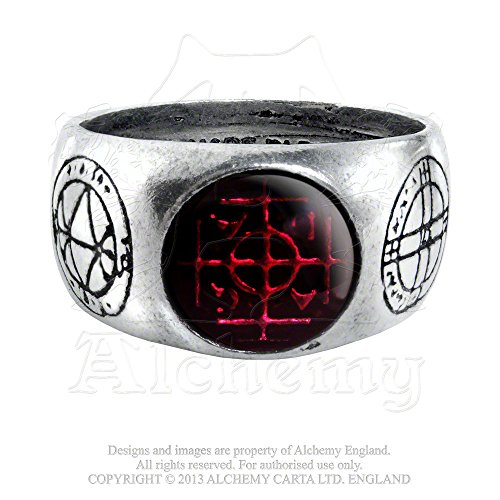 Five Magical Talismans Profit and Protection Agla Red Gemstone Ring By Alchemy Gothic Size -