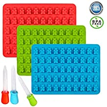 Enever 3 PACK (Blue Red Green) Gummy Bear Molds Silicone Chocolate Making Molds Yogurt Candy Molds - Total 150 Cavities,- Party Buffet, Baking, Wedding Favor Maker & Baby Shower Supplies-Candy Making Made Easy!
