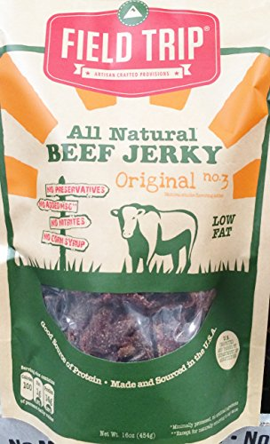 16oz Field Trip All Natural Beef Jerky, Low Fat, No Added MSG, No Nitrites, No Corn Syrup, No Preservatives (One Bag)