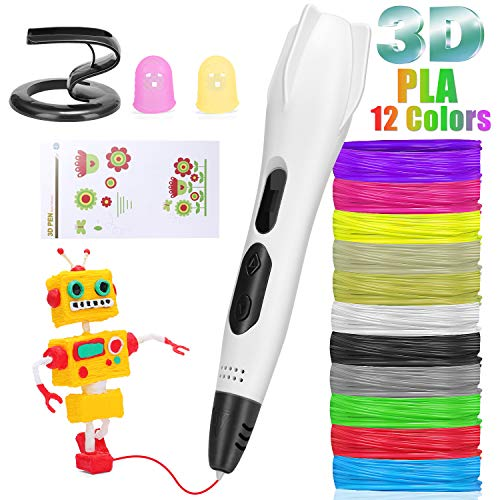 3D Printing Pen AveyLum Intelligent 3D Pen LCD Screen with 12 Colors 10ft PLA Filament USB Charging Creative Drawing Pen for Kids Children Gift Present, Standard UK Plug