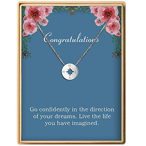 Graduation Gift S925 Sterling Silver Dainty Compass Friendship Necklace Birthday Jewelry For Women (Pendant College Jewelry)