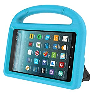 Kids Case for Kindle Fire 7 2017, MENZO Light Weight Shockproof Silicone Handle Stand Kids Friendly Case for Fire 7 inch (2017 released), Blue