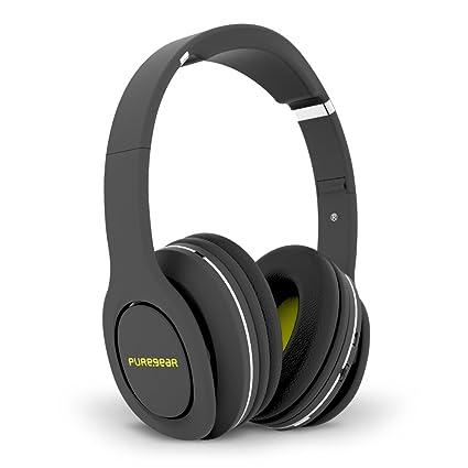 PureGear PureBoom Wireless Bluetooth 4.1 Over Head Foldable Adjustable Stereo Over Ear Headphones w/ Built