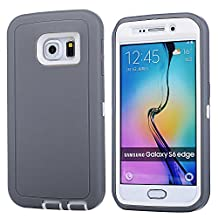 MOONCASE Galaxy S6 Edge Case, 3 Layers Heavy Duty Defender Hybrid Soft TPU +PC Bumper Triple Shockproof Drop Resistance Protective Case Cover for Samsung Galaxy S6 Edge -Grey White