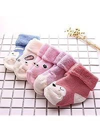 DRAGONHOO 5 Pack Newborn Cute Baby Kids Toddler Casual Socks Cartoon Unisex Warm Socks