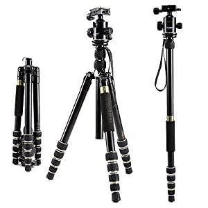 USCAMEL Tripod for Camera DSLR, Professional Portable Folding Aluminum Magnesium with Ball Head Set, Cell Phone and Ipad (Champagne Gold)