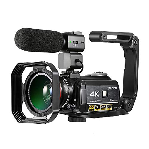 4K Camcorder, ORDRO AC3 Ultra HD Video Camera 1080P 60FPS WiFi Camera and IR Night Vision...