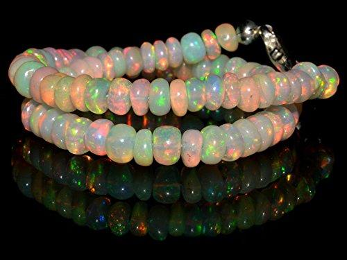 18+ Carat Natural Gemstone Ethiopian Opal Rondelle Plain Beads 7 Inch Bracelet