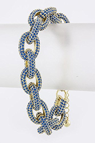 TRENDY FASHION JEWELRY COLORED CRYSTAL CHAIN BRACELET BY FASHION DESTINATION | (Blue) by Fashion Destination