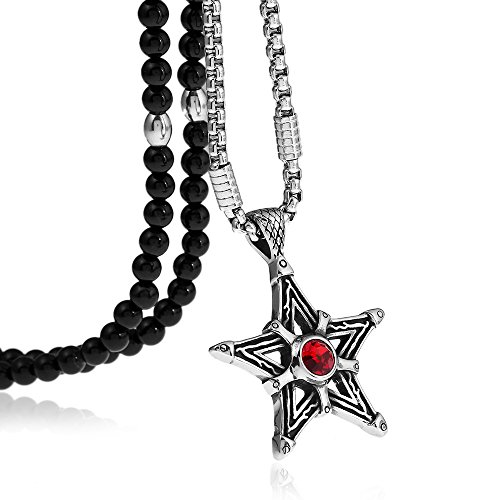 Star Wiccan Witch Magical Power Pentagram Pendant Necklace with Black Agate Stone Chain 26