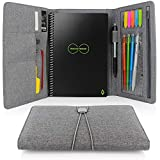 Folio Cover for Rocketbook Everlast, Wave, One Executive Size, Cloth Fabric, Multi Organizer with Pen Loop/Phone Pocket/Business Card Holder, fits A5 size Notebook, Gray, 9.4'' x 6.3'' (GRAY)