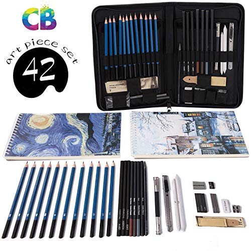 Professional Art Set Drawing and Sketching Set- Drawing, Sketching and Charcoal Pencils (42pcs) by Cool Bank