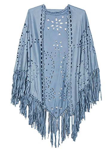 Persun Coffee Suedette Laser Cut Fringed Cape Shawl Wrap Scarf , Light Blue, One Size