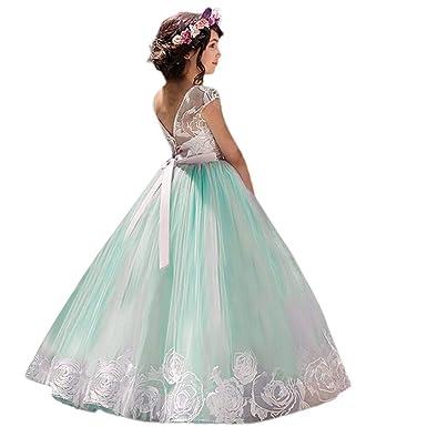 e2403449e97c Amazon.com  Lurryly❤Baby Girls Lace Bowknot Dresses Princess Wedding Formal Tutu  Dress Kids Outfit 4-9T  Clothing