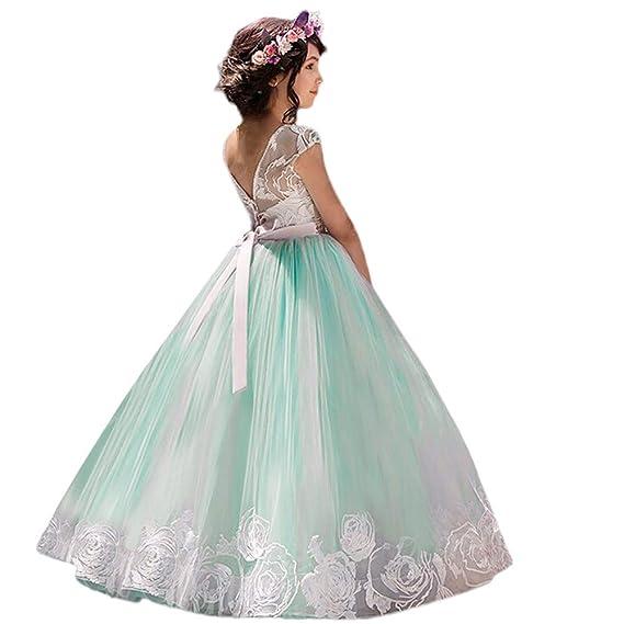 Vestito da Principessa Bambina Costume Ragazze Principessa Vestito Elegante  Pizzo Tutu Festa Carnevale Cerimonia Abito Coda Lunga 65b5dae4d8c