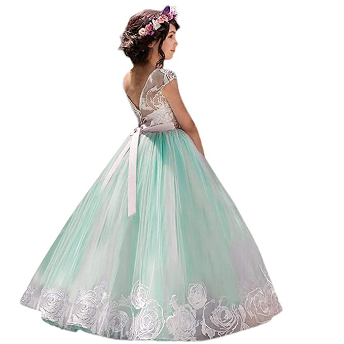 ASHOP Vestidos niña Verano 2018 Falda Flamenca Party Dresses (Verde,4-5años)