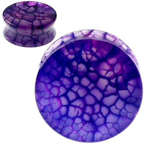 SoScene Purple Dragon Vein Organic Stone Ear Plugs Gauges Sold in Pairs (19MM-3/4 INCH)
