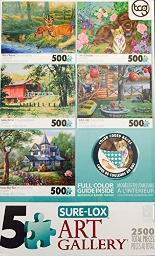 Five Sure-Lox Art Gallery Puzzles 500 Peice each 2500 Total Pieces Mists of Autumn, Calico & Chocolate, Looking for fish, Birds & Cabin, Victorian Misty Rose by Sure-Lox ()