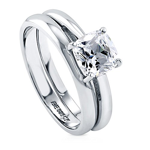 BERRICLE Rhodium Plated Sterling Silver Cushion Cut Cubic Zirconia CZ Solitaire Engagement Wedding Ring Set 1.5 CTW Size 7