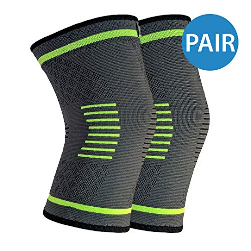 NatraCure Compression Knee Sleeves, 1 Pair - (Sizes: S,M,L,XL) - Braces and Supports Knee for Pain Relief, Meniscus Tear, Arthritis, Injury, Running, and Joint Pain - Best Knee Sleeve