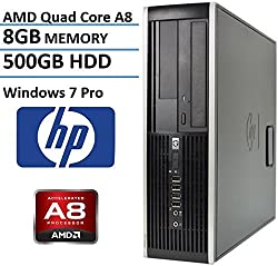 HP 6305 Small Form Factor Business Desktop Computer (AMD A8 Duad-Core up to 3.7GHz Processor, 8G DDR3 Memory, 500GB HDD, DVD, VGA, Gigabit Ethernet, Windows 7 Professional) (Certified Refurbished)