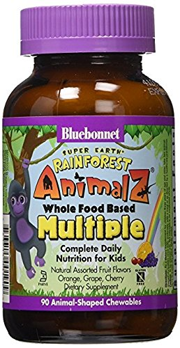 Bluebonnet Super Earth Rainforest Animalz Chews, Orange, Grape, Cherry, 90
