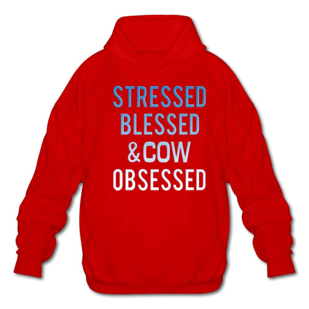 Achunlan Mens Long Sleeve Cotton Hoodie Stressed Blessed and Cow Obsessed Sweatshirt