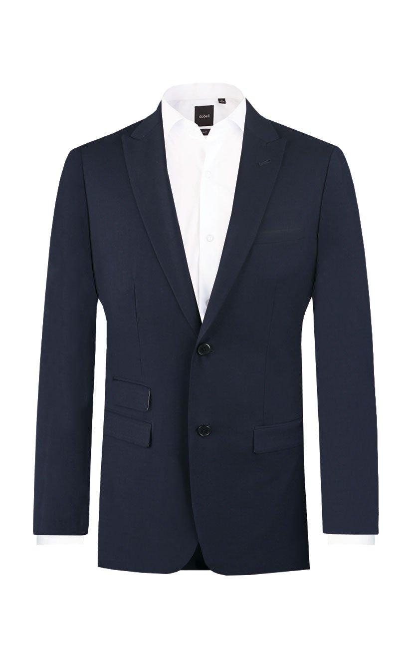 Dobell Mens Navy Travel/Performance Slim Fit Two Button Peak Lapel Suit Jacket, 38R
