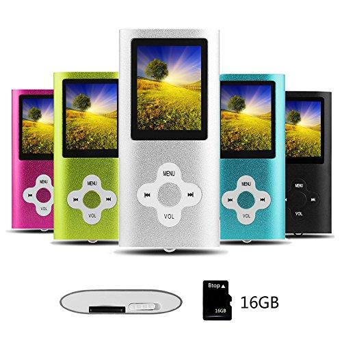 Btopllc Reproductor de MP3/MP4 Reproductor de música portátil de 16GB Reproductor Multimedia Digital Compacto con Mini Puerto USB Reproductor de música Compatible con música,Ebook,Imagen - Plateado