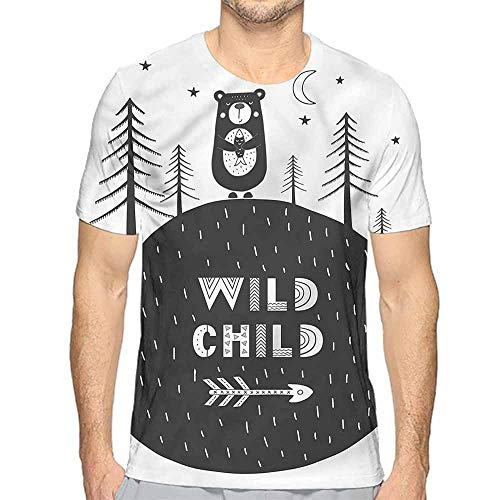 t Shirt for Men Black and White,Hand Drawn Bear Custom t Shirt XL