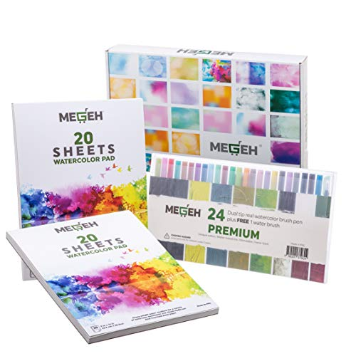 (Watercolor Paper and Brush Pens- Art Set-24 Colors Dual Tip Art Markers, 300gsm 9x12 Sketch, and Drawing Pad 40 Sheets -2 Pack| Beginner and Professional | Paint Marker Coloring Set|Non-Toxic)
