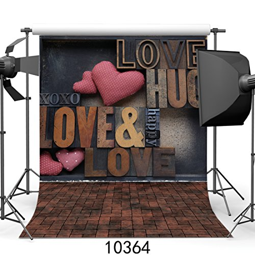 (SJOLOON 10x10ft Wedding Background Pink Rose Heart Love Wood Floor Vinyl Photography Backdrop Valentine's Day 10364)