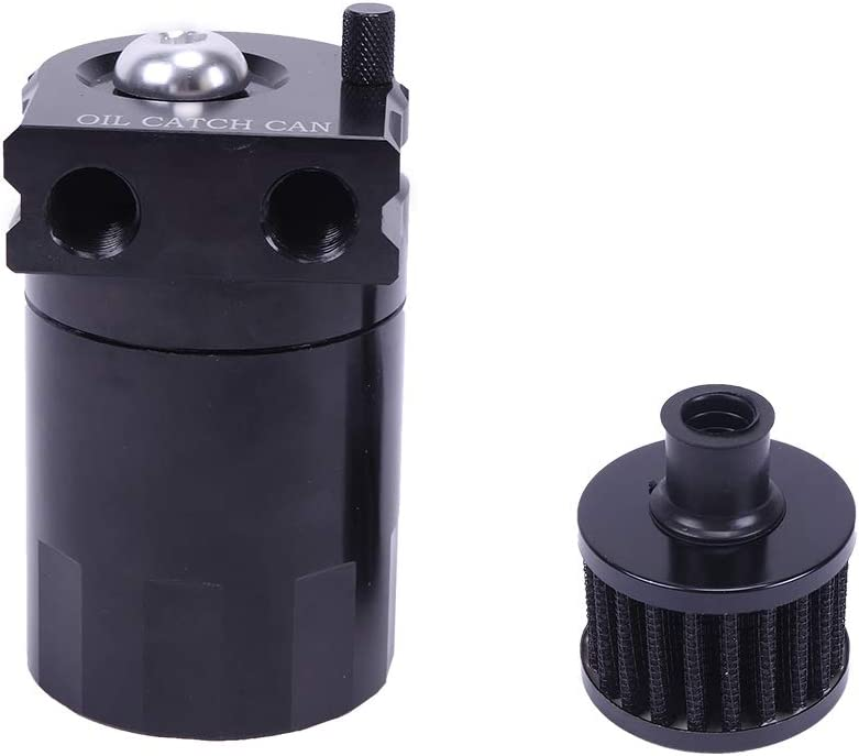 SUNROAD Universal Polish Baffled Car Round Oil Catch Tank Double Hole Cylinder with Air Filter Breather Aluminum Black