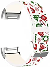 Bands Replacement for Fitbit Charge 2 Leather - Strap Compatible for Fitbit Charge 2 Small & Large Silver Women Men - Christmas Theme Design Pattern Red Colorful Christmas Print