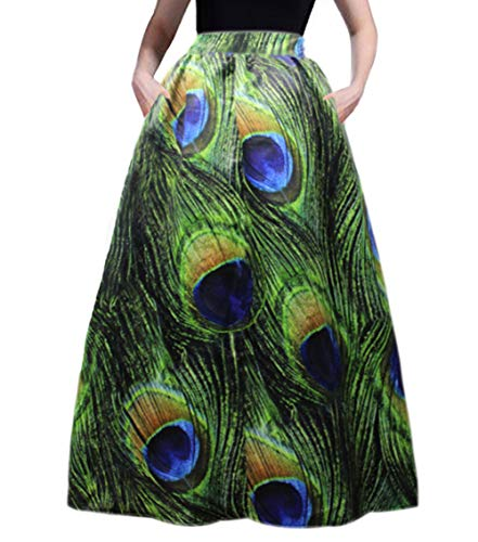 Women's Peacock Green Skirt Floral Glamorous Print Pleated High Waist Casual Boho Beach Maxi with Pockets