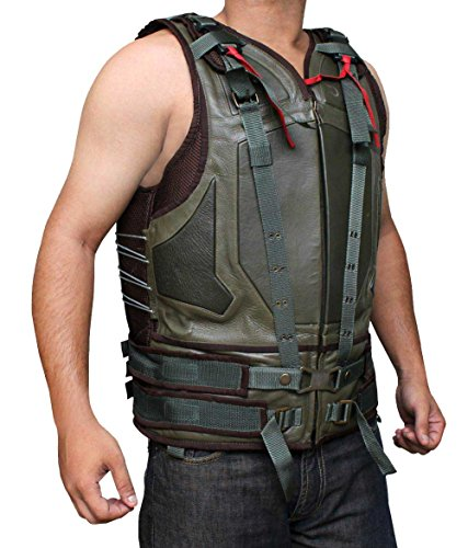Mens Bane Costumes (BV Baine Green Leather Spring Military Vest For Men - Eco Friendly PU Leather (XL))