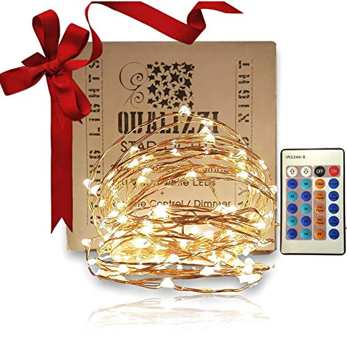 Qualizzi Starry Lights with Remote Control/Dimmable (33 Foot/100 Leds). Very Pretty Bright Fairy Light Effects on Led Copper Wire String Lightings. Enjoy Magic Decorative Garlands All Year Around