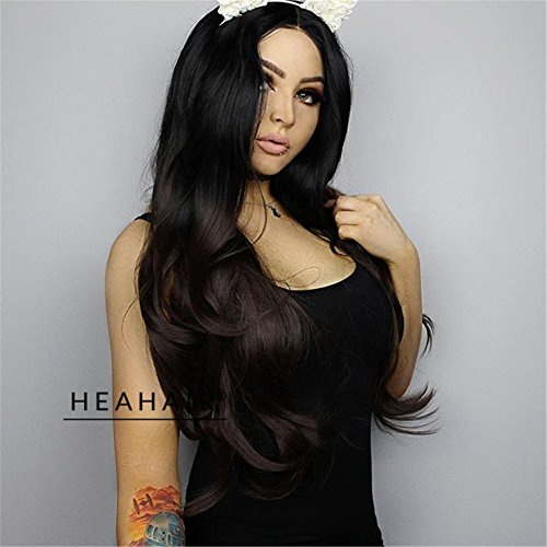 HEAHAIR Ombre Black to Dark Red Color Synthetic Lace Front Wigs 2 Tone Black Lace Front Wigs - Celebrity Kids Style