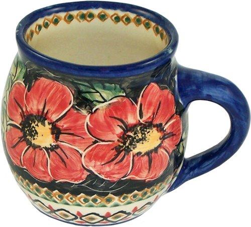 Stoneware Boleslawiec (Boleslawiec Stoneware Unikat Polish Pottery Bubble Mug / Coffee Cup 16 oz, Eva's Collection
