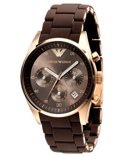 Emporio Armani Ladies AR5891 Sport Rose Gold Ion-Plating Brown Chronograph Dial Watch