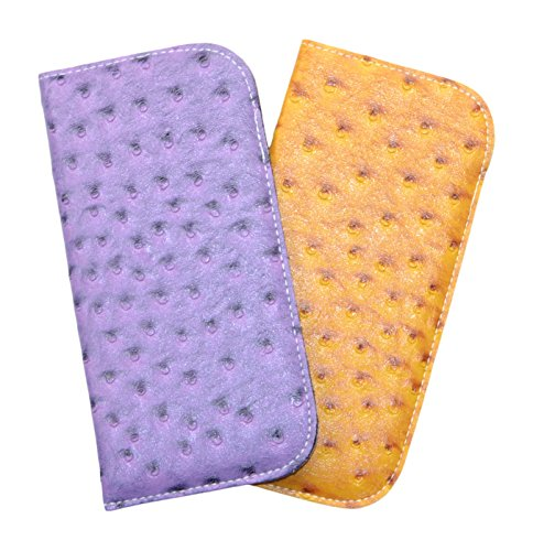 Ostrich Slip Faux (2 Pack Soft Slip In Eyeglass Cases For Women Or Men In Faux Ostrich Leather, Mustard/Purple)