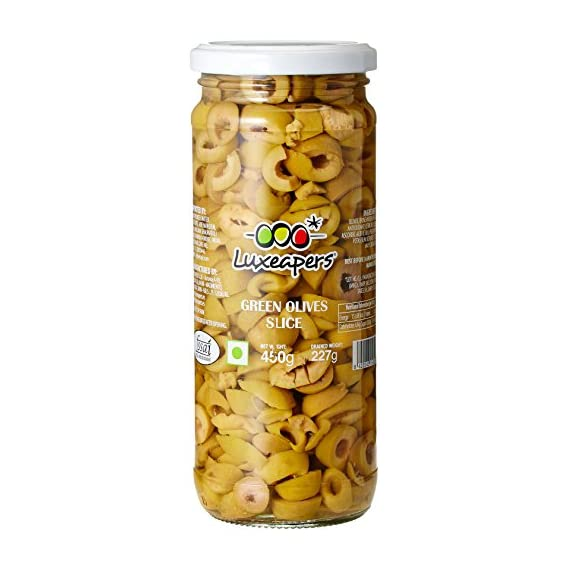 Luxeapers Green Sliced Olives, 440g